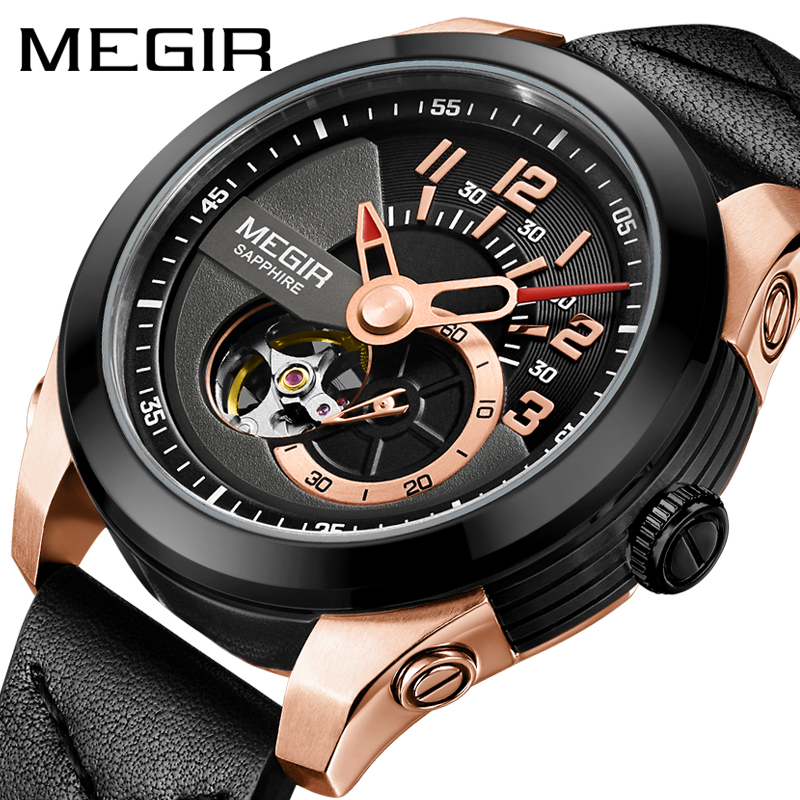 Megir Watches Automatic Mechanical Watch Men Sapphire Waterproof Male Automatic Watches Men Luxury Brand Mechanical Watch Men men mechanical watches men s watch best luxury brand 2017 new burei male steel band hour sapphire waterproof wristwatch hot sale