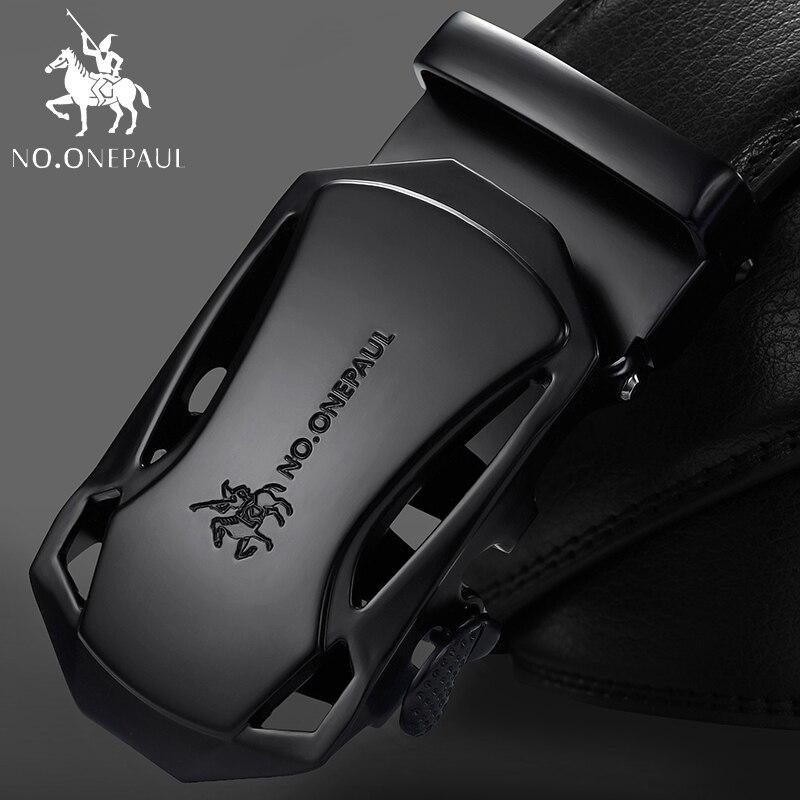 KEINE. ONEPAUL Marke Mode Automatische Schnalle Schwarz Echtes Leder Gürtel herren Gürtel Kuh Leder Gürtel für Männer 3,5 cm Breite WQE789
