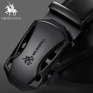 NO.ONEPAUL Brand Fashion Automatic Buckle Black Genuine Leather Belt Men's Belts Cow Leather Belts for Men 3.5cm Width WQE789(China)