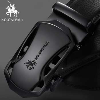 NO.ONEPAUL Brand Fashion Automatic Buckle Black Genuine Leather Belt Men