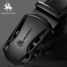 NO.ONEPAUL Brand Fashion Automatic Buckle Black Genuine Leather Belt Men's