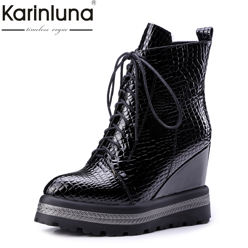 KarinLuna plus size 34 42 Fashion genuine leather wedge high heels women shoes woman pointed toe