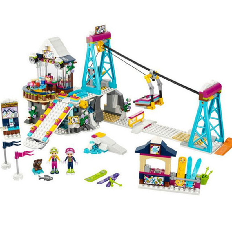 Friends Series Snow Resrot Ski Lift Building Blocks Bricks Kid Toys Compatible with Legoingly 41324 for Children Diy Gifts lepin diy girl friends series the undersea palace set castle building blocks bricks toys for children compatible with legoingly