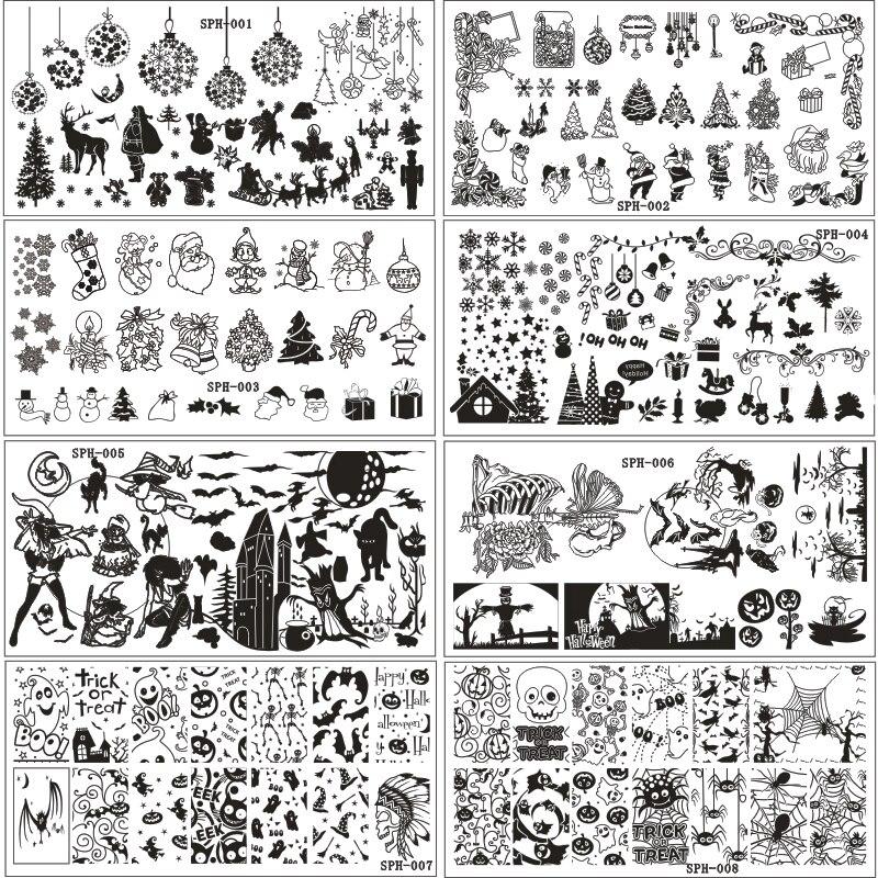 ᐂ9Pcs/lot 6*12CM Christmas&Halloween Pattern Nail Stamping Plates ...