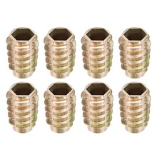 Uxcell 8pcs/lot Threaded Insert Nuts M10 Internal Thread 24mm Length Hex Drive Inserts Hex-Flush Zinc Alloy Furniture Nut M10x24