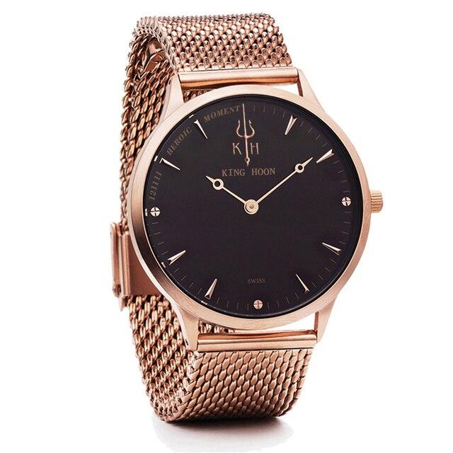 8d373c5e85c KING HOON relogio masculino de luxo Ultra fino aço inoxidável Quartz Watch  Bracelet de relógio masculino