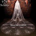 Luxury Dubai 2T 3M Cathedral Wedding Veil With Crystal Real Ivory/White Applique Flower Bridal Veil With Comb Voile Mariage WB53