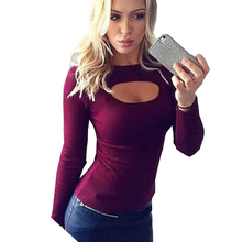 Open Chest T-shirts Women Tee Shirt Femme Long Sleeve Spring Camisetas Poleras De Mujer Tshirt Female T shirts Tops Knitted