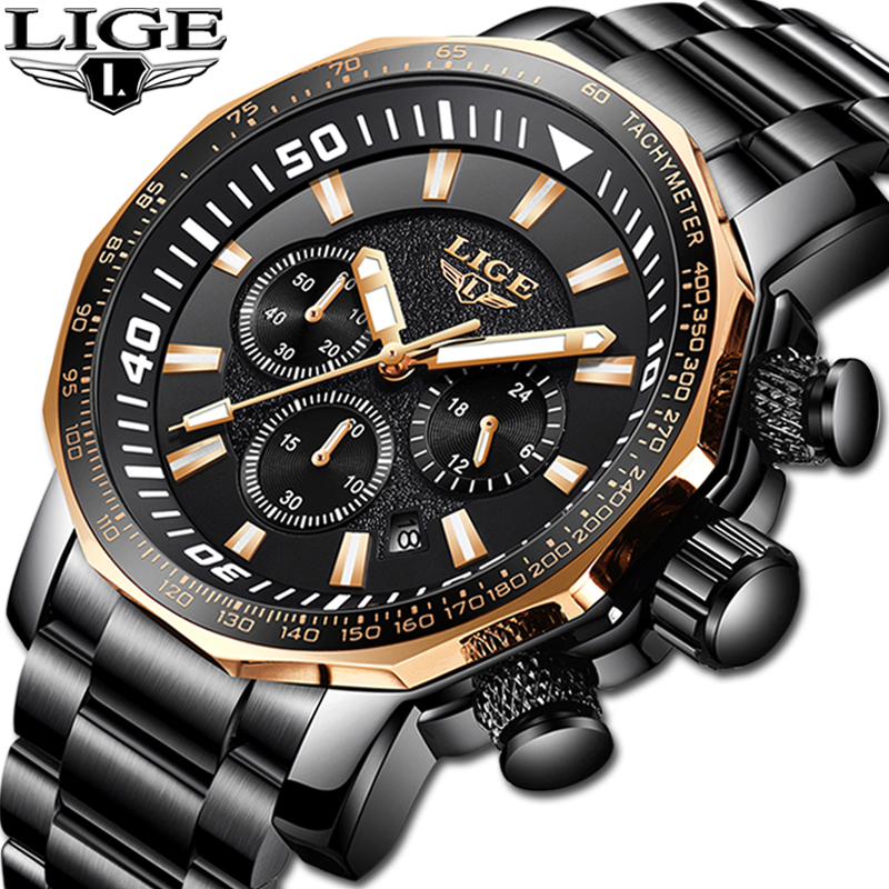 Relojes Hombre 2019 New LIGE High Quality Mens Watches Luxury Big Dial Brand High End Business Quartz Watch Men Waterproof WatchRelojes Hombre 2019 New LIGE High Quality Mens Watches Luxury Big Dial Brand High End Business Quartz Watch Men Waterproof Watch