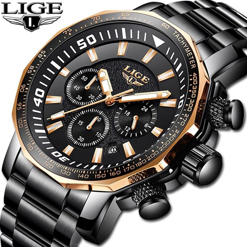 Relojes Hombre 2019 Nuovo LIGE Mens di Alta Qualità Orologi di Lusso Big Quadrante di Marca di Fascia Alta Vigilanza del Quarzo di Affari Degli Uomini Impermeabile orologio