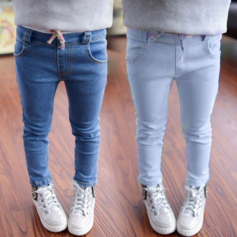 Top Sale Denim Pants Girl Toddler Denim Pants Free Shipping Slim Jeans For Kids Solid Jeans 2 Colors Children Wear Jeans Child top designer blue ripped jeans mens denim hole zipper biker jeans men slim skinny destroyed torn jean pants streetwear jeans