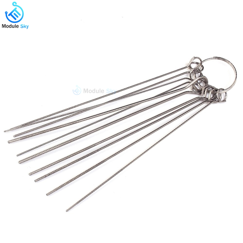 10 Kinds of PCB Electronic Circuit Through Hole Needle Desoldering Welding Repair Tool Stainless Steel Needle Set 80mm 0.7-1.3mm10 Kinds of PCB Electronic Circuit Through Hole Needle Desoldering Welding Repair Tool Stainless Steel Needle Set 80mm 0.7-1.3mm