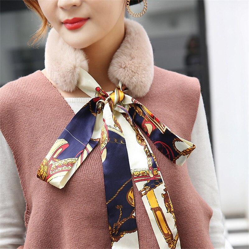 100% Real Rabbit Fur   Scarf   Fashion Women Winter Fur Silk   Scarf   Neck Warmer   Scarf   Luxury Brand Outdoor Warm Collar   Scarves     Wraps