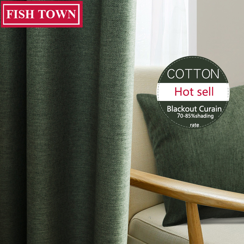 FISH TOWN Faux Linen 70%-85% Shading Custom Made Insulating Modern Style Solid Color Blackout Curtain For Living Room Window
