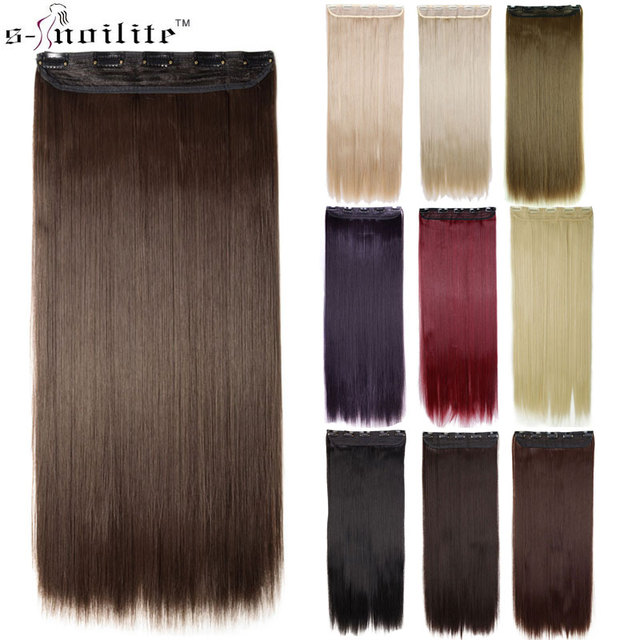Snoilite 30inch 5 Clip Ins Long Straight Hair Extensions Synthetic