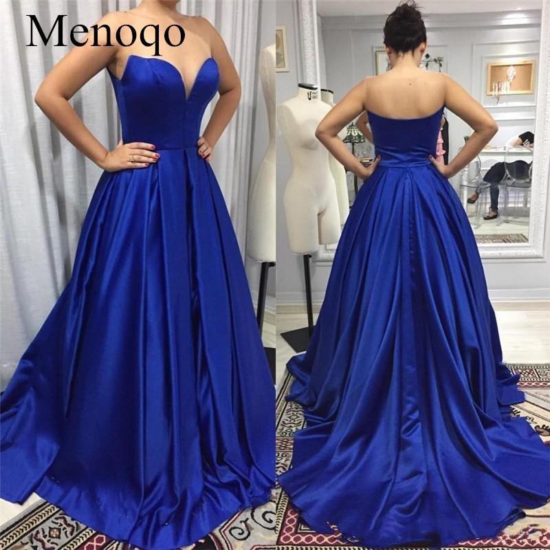 New Arrival Royal Blue   Evening     Dresses   2019 Sweetheart Satin Women   Evening   Gowns Cheap Formal Party Wear Vestidos De Fiesta