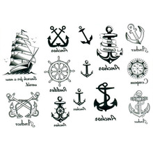 2pcs Waterproof Sailor Type Body Art Temporary Removable Tattoo Decal Anchor Sticker