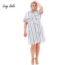 Lazy KoKo 2017 New Fashion Plus Size Women Clothing Summer Striped With Pockets Front Blouse Dress Big Size  Casual Sashes Dress