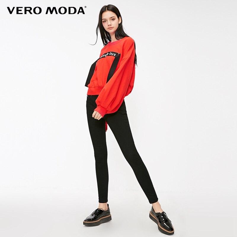 Vero Moda 2019 New High Waist Lace-up Zipper Women Slim Fit Jeans   318332507