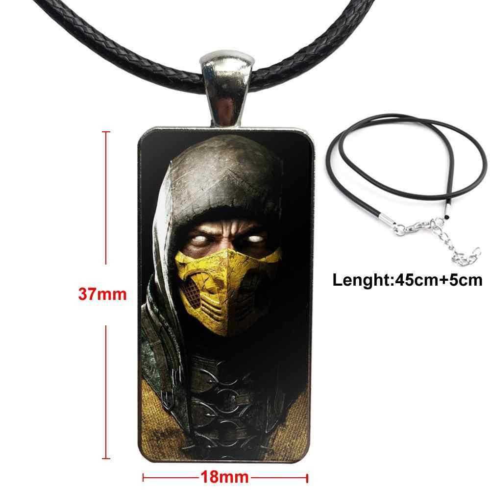 Cho Unisex Đảng Quà Tặng The Mortal Kombat Bọ Cạp Pact Thời Trang Glass Cabochon Mặt Dây Chuyền Hình Chữ Nhật Vòng Cổ Vòng Cổ Vòng Cổ Trang Sức