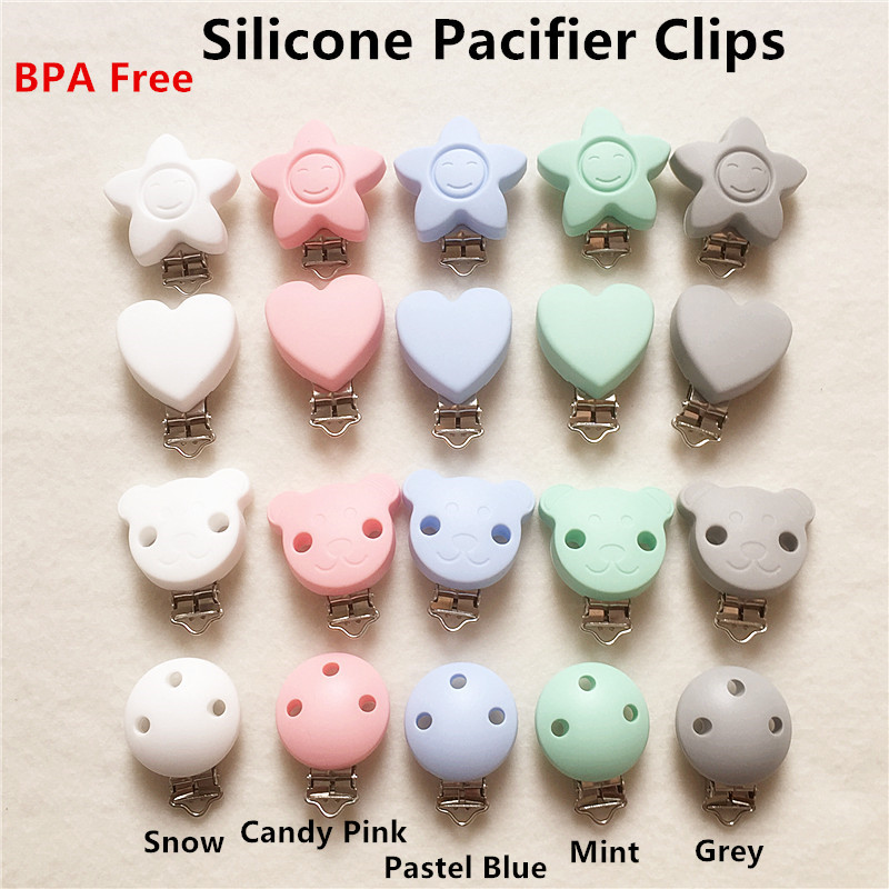 50PCS BPA Free Silicone Baby Pacifier Dummy Teether Chain Holder Clips DIY Soother Nursing Teething Accessories