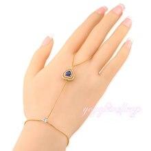 Regalo del día de san valentín azul oscuro corazón de cristal a mano de nuevo de las mujeres de moda brazalete palma conectado dedo handlet r961