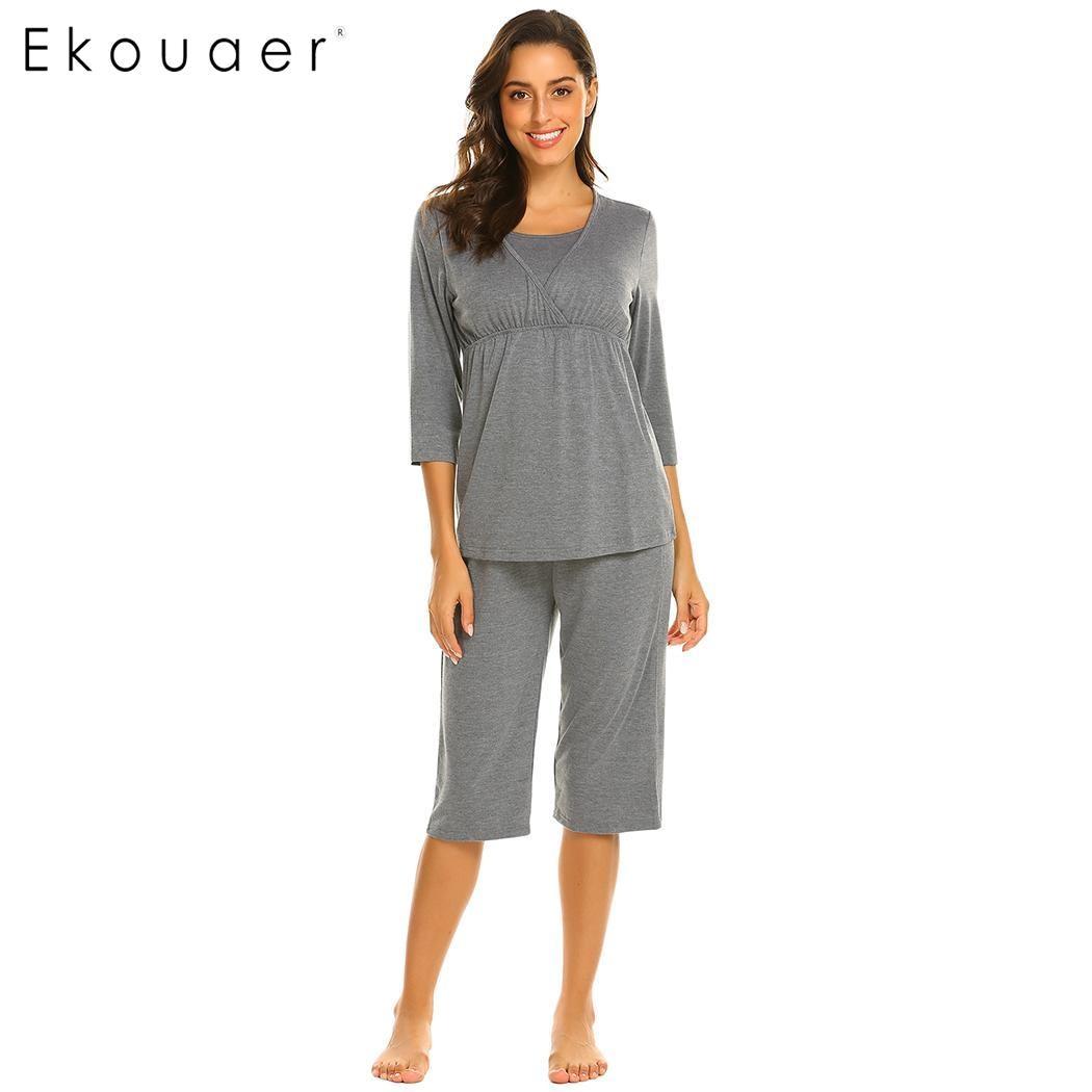 d8e71cf01d Ekouaer Women Pajama Set Soft Cotton Sleepwear Maternity Nursing Pregnancy  3 4 Sleeve Top Half Length Pant Night Pajamas Suit