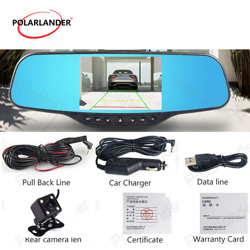 4.3 Inch Rearview Mirror Car DVR Dual Lens Registrar Camcorder with rear camera night vision dash cam black box