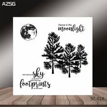 AZSG Trees In The Moonlight Clear Stamps/Seals For DIY Scrapbooking/Card Making/Album Decorative Silicone Stamp Crafts(China)
