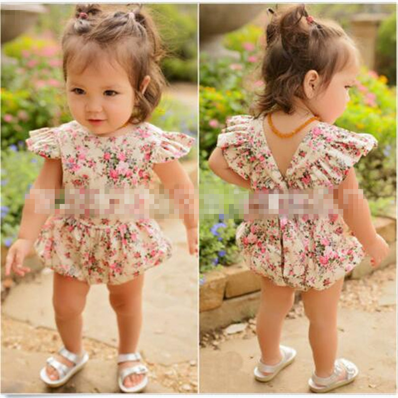 Newborn Clothing Baby Girls Summer Rompers Floral Short Sleeve Jumpsuit Outfits Set Clothes 0-18M Baby Romper For Girl Sunsuit