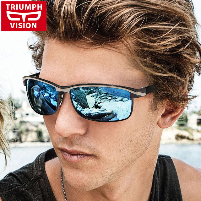 19cd7f2968e TRIUMPH VISION Mirrored Polarized Driving Sun Glasses for Men Cool Black  Oculos Shades Male 2018 Wrap