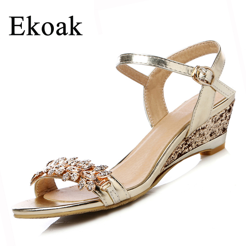 ФОТО Ekoak New 2017 Summer Fashion Women Sandals Sexy Crystal Bling Medium Heels Shoes Woman Wedges Sandals Party Dress Shoes