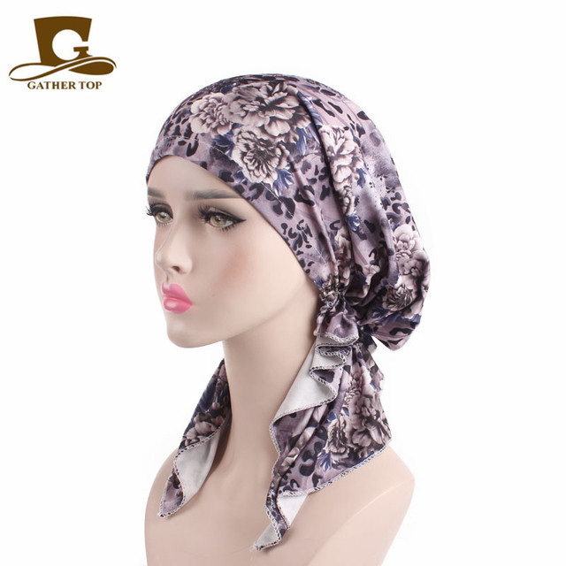 5140405373a 2018 New Women Pre Tied Bandana Turban Chemo Cap Head wrap Head Scarf Sleep  Hair Cover Hat Lady Long Tail Headwear Turbante