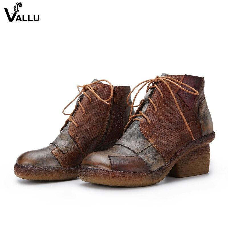 Ручной работы в стиле ретро сапоги для женщин старый патч Дизайн со шнуровкой сапоги на высоком каблуке натуральная кожа Женские уличные ту...