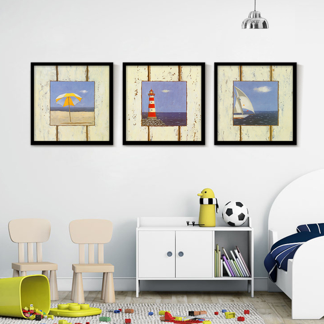 € 4.9 43% de réduction|Paysage marin bleu ciel Vintage toile Art maison  peinture beauté plage beau mur photos décoration salon peinture à ...