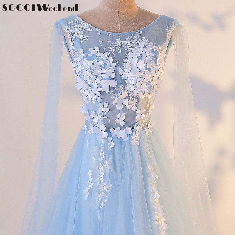 SOCCI Weekend Illusion Long Evening Dress 2018 The Bride Banquet Blue Lace Flowers Prom Party Gown Photography Formal Dresses