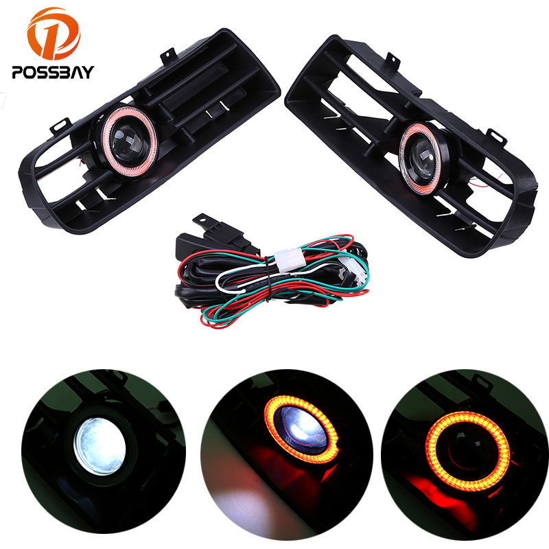 POSSBAY Running Fog Lights Red Angel Eyes Front Lower Grilles Fit for VW Golf/Variant/4Motion 1998 2006 Auto Halo Rings Foglamp