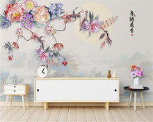 цена на beibehang New Chinese beautiful wallpaper hand-painted flowers landscape background decorative painting wall papers home decor