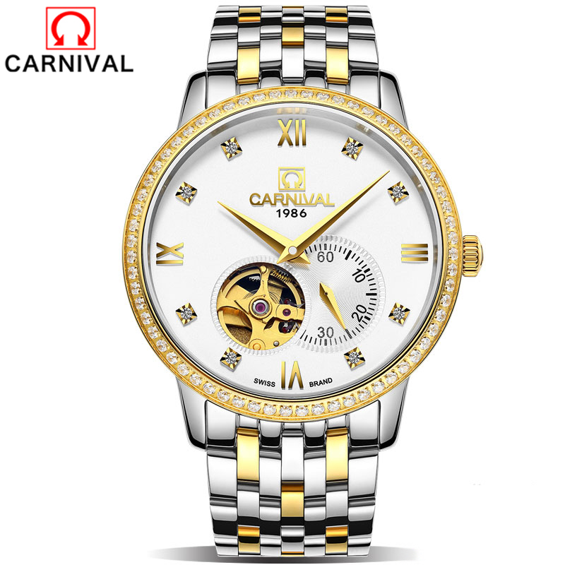 Carnival Top Brand Luxury Wrist Watch Retro Classic Scale Golden Case Small Dial Design Relogio Masculino Mens Automatic Watches купить в Москве 2019