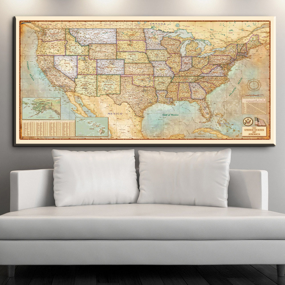 US $7.81 37% OFF|xll275 Large World Map Canvas Art English Words Country  Names Word Art Black And White Print Wall Painting Home Office Room Wall-in  ...