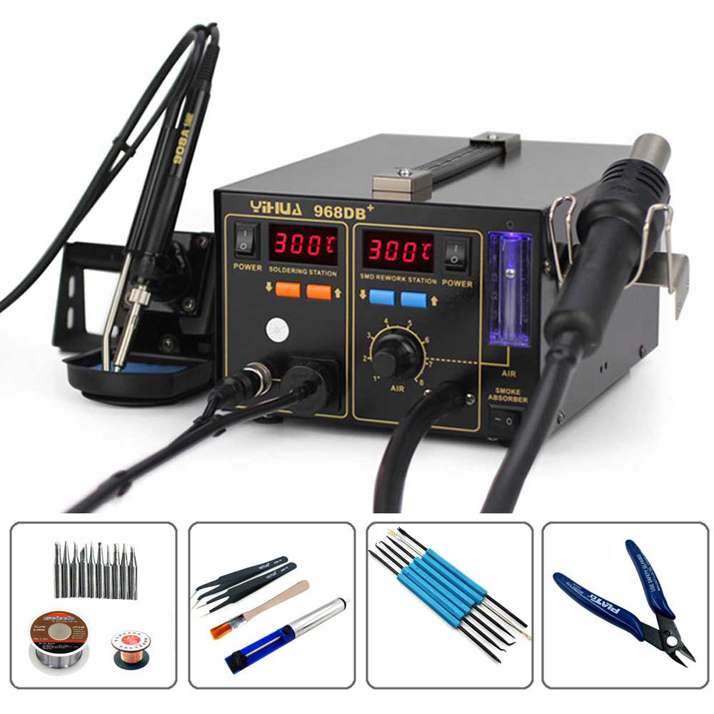 YIHUA 968DB+ 3 in 1 With The Function Of Smoking Heat Gun Soldering Station Digital Display Temperature Control Rework StationYIHUA 968DB+ 3 in 1 With The Function Of Smoking Heat Gun Soldering Station Digital Display Temperature Control Rework Station