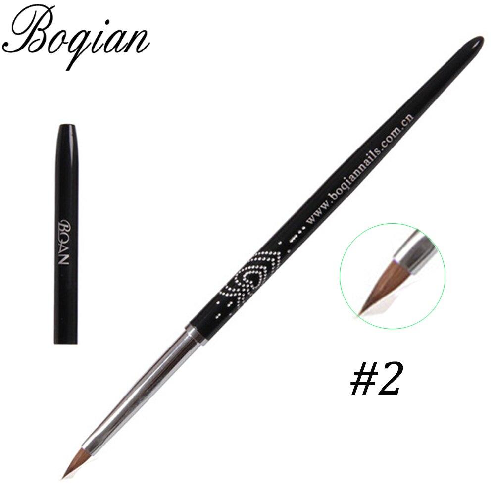 BQAN Professional #2 1pcs Nail Brush Art Acrylic Kolinsky Sable Brush 3D Painting Pen Drawing Brush