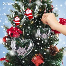 10pcs Christmas Tree Decoration Clear Heart Plastic Ball Open Box Wedding Gift Hanging Ornament New Year 2018