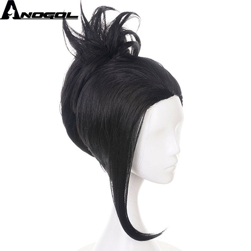 Anogol My Hero Academia Momo Yaoyorozu Short Black Ponytail Wigs Synthetic Cosplay Wig For Costume Party Halloween Carnival