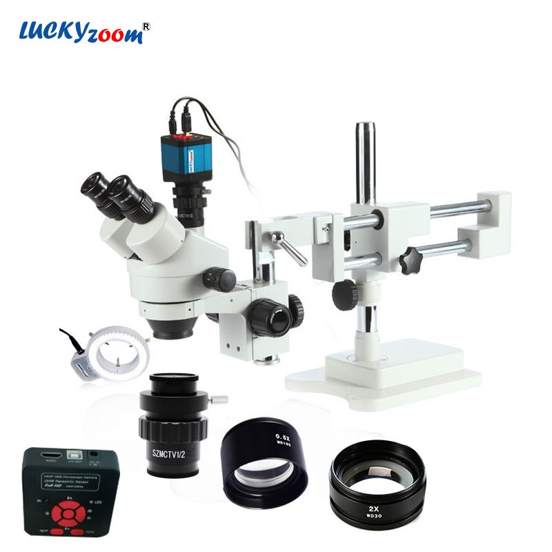 Chanceux Zoom Marque 3.5X-90X Stéréo Trinoculaire Microscope Boom Stand 16MP HDMI USB Microscope Caméra 144 LED Light Ring accessoires