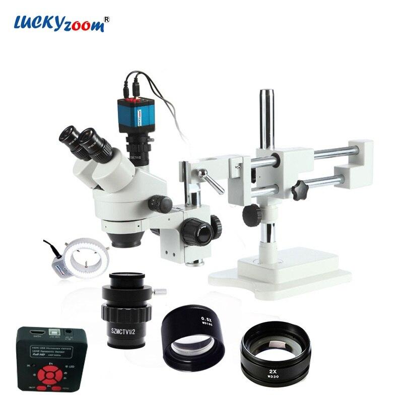 Lucky зум бренда 3.5X-90X стерео тринокулярный микроскоп бум стоять 16MP HDMI usb-микроскоп Камера 144 светодио дный кольцо света аксессуары