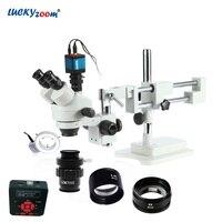 Lucky зум бренда 3.5X 90X стерео тринокулярный микроскоп бум стоять 16MP HDMI usb микроскоп Камера 144 светодио дный кольцо света аксессуары