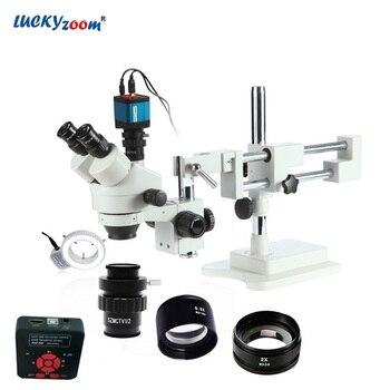 Lucky зум бренда 3.5X-90X стерео тринокулярный микроскоп на воздушной подушке с 16MP HDMI USB микроскоп Камера 144 светодиодный кольцевой светильник для...