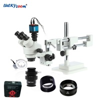 Lucky Zoom Brand 3.5X 90X Stereo Trinocular Microscope Boom Stand 16MP HDMI USB Microscope Camera 144 LED Ring Light Accessories