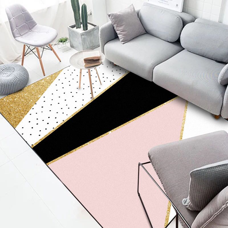 Nordic Style Door Mat Living Room Carpets 3D Printing Soft Pink Carpet Coffee Table Mat Bedroom Non-slip Absorbent Polyester Rug